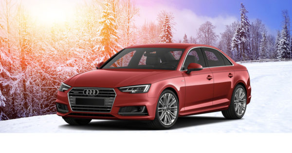 Red 2017 Audi A4 in the Snow