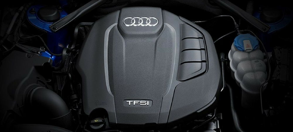 A close-up of the 2018 Audi A4's TFSI® engine
