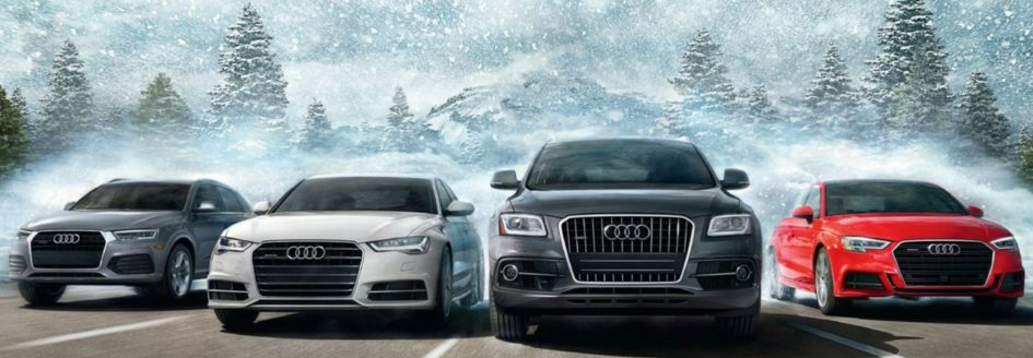 A lineup of Audi vehicles featured in a blog about Audi quattro® all-wheel drive