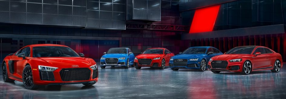 A Lineup Of Audi Sport Performance Vehicles