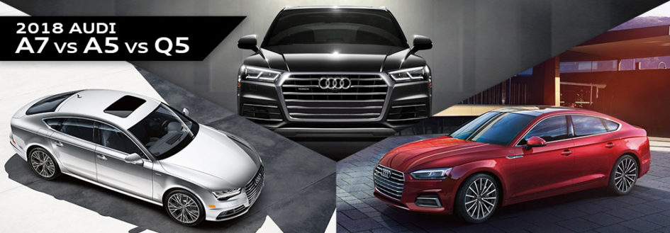 An Audi Q5, A5, and Q7 featured in a blog post about new Audi models