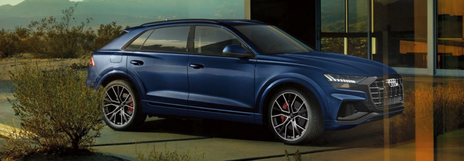 Navy blue 2019 Audi Q8 parked in driveway